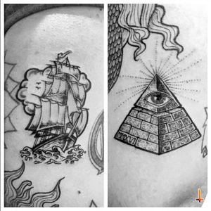 Nº205 #tattoo #tattoos #ink #oldschool #oldschooltattoo #pirate #pirateship #pirateshiptattoo #piratetattoo #seaboat #seaship #marinetattoo #pyramid #eyeofprovidence #allseeingeyetattoo #allseeingeye #eyeofgod #bylazlodasilva Designs by other artists