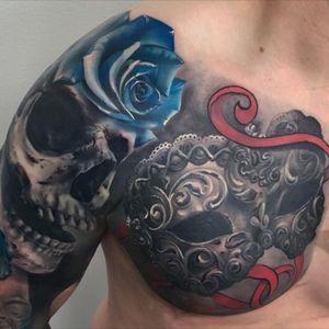 #blackandgrey #skull #rose #venetianmask #wearesorrymom #inkjecta #killerinktattoo