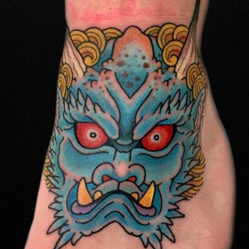 Demonhead on jamie king.  #DemonHead #onidemon #henning #royaltattoodenmark