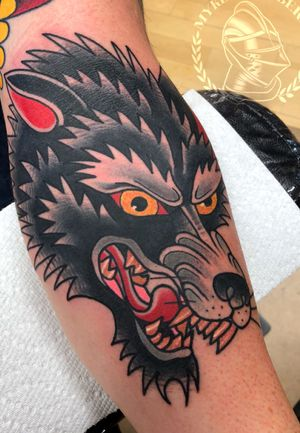Traditional wonky wolf Seven Swords Tattoo Company - Philly #Traditionaltattoo #Traditionaltattoos #tattooing #mykechambers #oldschooltattoos #oldschooltattoo #tattooer #colortattoos #tato #tatto #tatoo #tattos #philadelphia #philly #phillyart #sevenswordstattoocompany #eternalink #besttraditionaltattoos #cleanandbold #classictattoos #criticalsupply #sstc #mykechambers @sorrymomtattoo aftercare #sorrymomaftercare #WeAreSorryMom #SorryMomUSA #mykechambers