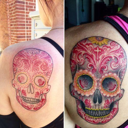 #sugarskull by Damien Galloway at Urbans Tattoo in Arlington, TX.