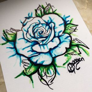 #Abstract #Watercolor #Blue #Rose #Flower #Color #Sketch #Tattoo #Vorlage #Flash #Moko #Tattoostudio #Merzig