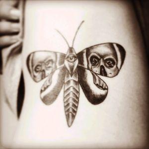 #moth #mothtattoo #skull #blackandgrey