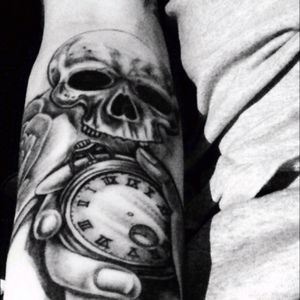 Just the start skull rose and stop watch #inked #coveredinink #loveit