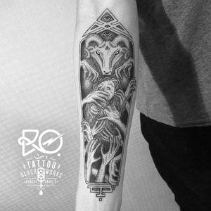 By RO. Robert Pavez • The Sarcophagus of Baphomet • #engraving #dotwork #etching #dot #linework #geometric #ro #blackwork #blackworktattoo #blackandgrey #black #tattoo #baphomet