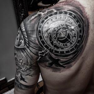 Finally finished!! I ve done this in a great guy!! Tks Richie, I appreciate your trust in my work 😜 by Turco Tattooist!! #turcotattooist #turcotattoos #turcotattoostudio #skincitytattoodublin #blackandgraytattoo #eyetattoo #clocktattoo #pragueclocktower #tattoodo