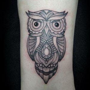 Dotwork owl by me, Rebekka Rekkless. #owl #owltattoo #dotwork #dotworktattoo #rebekkarekkless