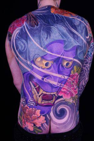 Hannya tattoo by Ed Perdomo #japanese #irezumi #samurai #yokai #EdPerdomo #hannya #peony #backpiece