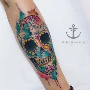 Mexican Skull #tattoo #tatuagem #caveira #skull #mexicanskull #aquarela #acuarela #watercolor #felipebernardes #brasil #fullcolor