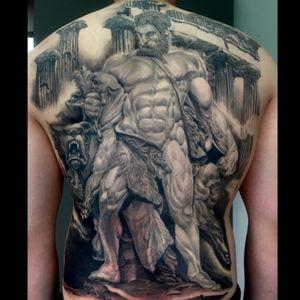 #blackandgrey #backpiece #mythology #realism