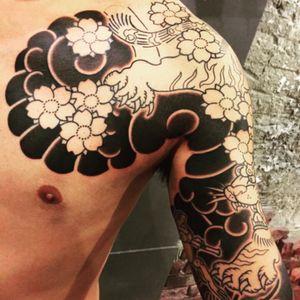 The Japanese tranditional tatoo(progress 60%). #tiger#frog#japanesetattoo