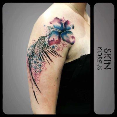 #abstract #watercolor #watercolortattoo #watercolortattoos #watercolour #kolibri #hummingbird #flower made @ #absolutink by #watercolortattooartist #watercolorartist #skinkorpus