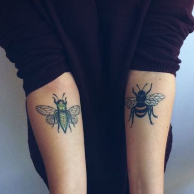 My insects ! 🐝🐞🐛🦋🐜 #insect #tattoo #insectes #avant bras #forearm #bee #cicada #bourdon #cigale