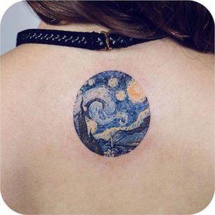 Beautiful van gogh Starry Night tattoo #neck