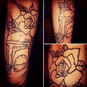 #starwars #BobaFett #girlswithtattoos #rose #linework #darkside