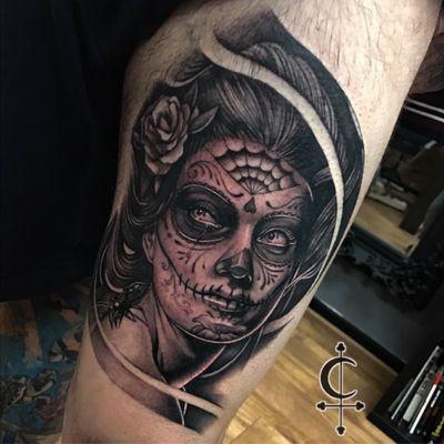 Dia de muertos girl #tattoo #tattoos #tattooart #tattooartist #inked #ink #art #tattooshop #portsmouth #southseatattooco #blasted #sleevetattoo #tattooed #tattooing #awesometattoo #tattooist #tattooshop #tattoostudio #southsea #sleevetattoo #realismtattoo #blackandgrey #portrait #portraittattoo #blackandgreytattoo #dayofthedeadtattoo #dayofthedead #mexico #chicanotattoo #realism #chicano