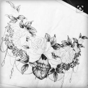 #skull #floral #flower #blackandgray #sternum