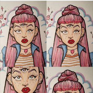 #thirdeye #tattoo #girl #grunge #colour