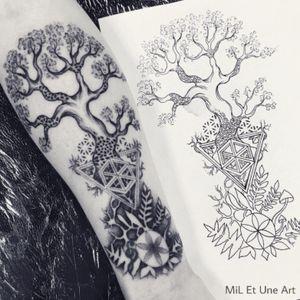 Tree of life tattoo by MiL Et Une #miletune #treeoflife #sacredgeometry #naturetattoo #dotwork #treetattoo #visionary #trippy #hippietattoo #adelaide #australia