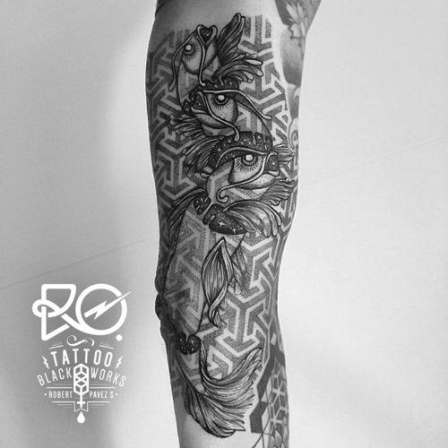 By RO. Robert Pavez • Cosmic Fishes • #engraving #dotwork #etching #dot #linework #geometric #ro #blackwork #blackworktattoo #blackandgrey #black #tattoo #fishtattoo