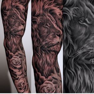 Artist #juncha #lion #sleeve #animal #roses #hyperrealism