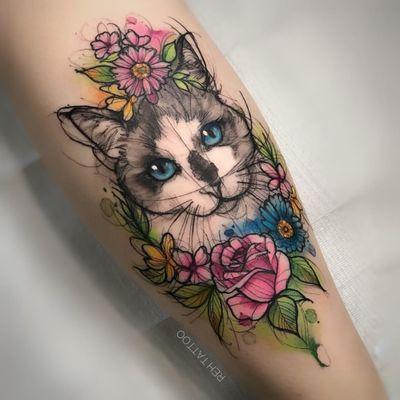 Reh Tattoo 🇧🇷 #gato #cat #colorida #colorful #tatuadorasdobrasil