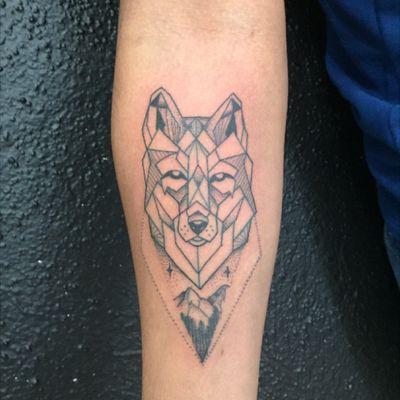#geometric #geometrictattoo #wolf #wolftattoo #dotwork #dotworktattoo #blackink #tattoo #forearm #forearmtattoo #mountain #mexican #tattoodo #cheyennehawkpen