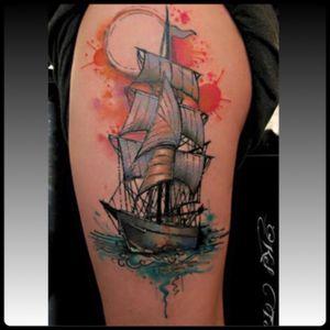 #shoulder #upperarm #ship #watercolor #KelTait #keltaittattoo @kel.tait.tattoo #welove