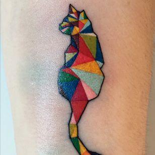 #cat #graphictattoo #geometric #colorful #animal #funtattoos