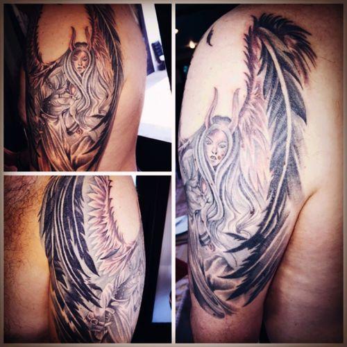 Bamboo Tattoo of Demonic Angel - The Bamboo Rooms, Koh Samui #bamboo #Thailand #bambootattoo #demonic #angel #kengbambootattoo
