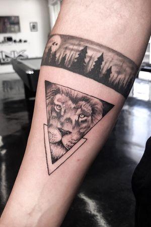 Triangle Lion Tattoo