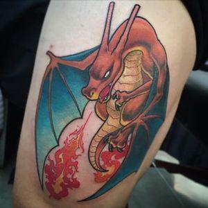 Charizard realistic dragon appearace tattoo #fire #dragon #pokemon