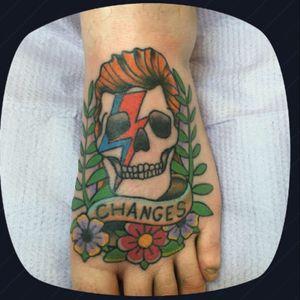 David Bowie tribute. #ink66 #ink66tattoos #columbusga #ftbenning #traditional #traditionaltattoo #bright_and_bold #bold #davidbowie #foottattoo #foot #tribute #stayhumble