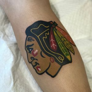 Done by @mikeylotattoos #chicagoblackhawks #chicagotattoo #boundlesstattoo #boundlesstattoocompany #boundlesstattooco