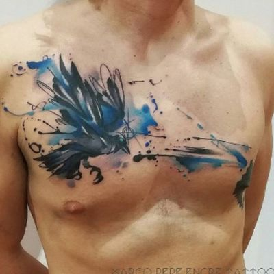 #watercolor #bird #crow #black and #blue #abstract by #tattooartist #marcoencre #marcoencre