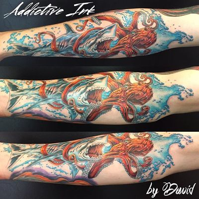 Thank you for the honor and privilege Jesse!!! By David. #addictiveink #albuquerque #albuquerquenm #octopustattoo #sharktattoo #watertattoo #water #sea #octopus #shark