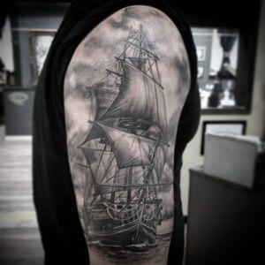 Ship by artist Char McGaughy #blackgreytattoo #pirateship #dallastattooartist #dallastx #art #golddusttattoo #ship #blackandgrey
