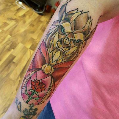 Beauty And The Beast tattoo by Amanda (anz_tattoo on IG) done at our studio #beautyandthebeast #disney #waltdisney #SinkOrSwinTattoo #sostattoo