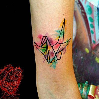 Watercolor origami bird by Xavier Alvarez / Sins & Needles Tattoo #watercolor #origami #origamibird #bird