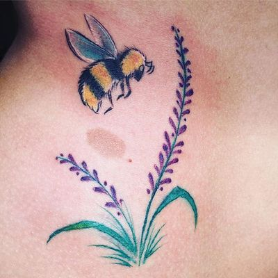 Bee and lavender done in Holland #bee #lavender #floral #flower #nytattooartist