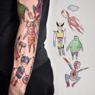 Epic sleeve by Miriam Frank , thank you Bernd !!! #farbenprachttattoo #marvel #avengers #captainamerica #wolverine #spiderman #ironman #tonystark #guardiansofthegalaxy #hulk #rocket #thor #marveluniverse