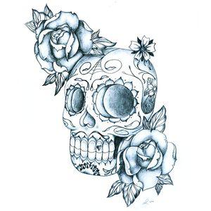 #SugarSkull by #ErnestGerber #Drawing #Custom #Design