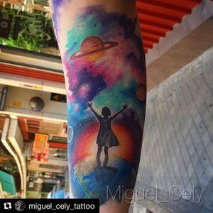 Healed / Curado. Trabajo realizado por Miguel Cely #tintaalalma #madrid #realism #realistictattoo #realismo #universe #planet #color #colortattoo