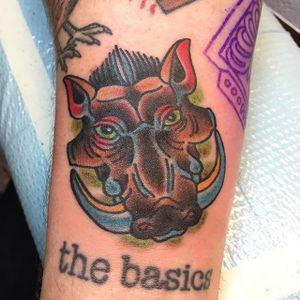 Warthog by Hunter R Spanks! #readstreettattoo #hrspanks #marylandtattoo #baltimoretattoo #traditionaltattoo #warthog