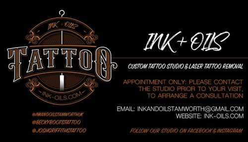 INK + OILS tattoo shop Tamworth and laser tattoo removal